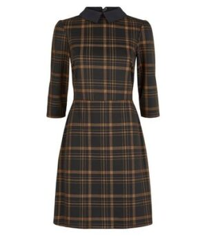 Black Check Collared Skater Dress New Look