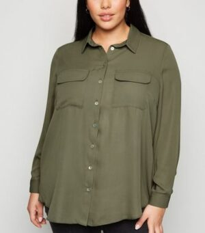 Curves Khaki Utility Long Sleeve Shirt New Look