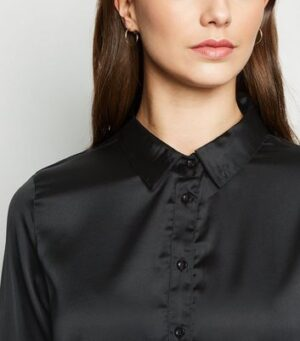 JDY Black Satin Long Sleeve Shirt New Look