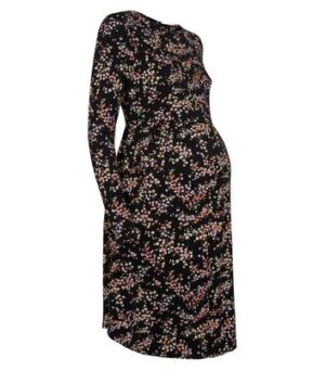 Maternity Black Ditsy Floral Dress New Look