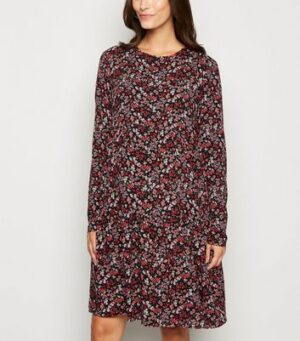 Maternity Black Ditsy Floral Tiered Dress New Look
