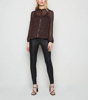Black Ditsy Floral High Frill Neck Shirt New Look