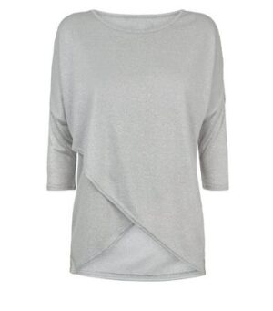 Apricot Pale Grey Glitter Wrap Hem Top New Look