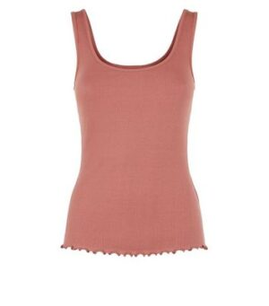 Rust Ribbed Frill Scoop Neck Vest New Look