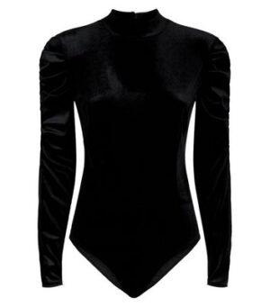 Urban Bliss Black Velvet Puff Sleeve Bodysuit New Look