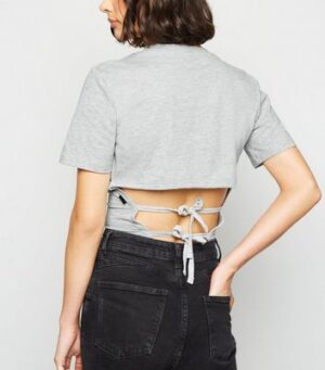 Noisy May Pale Grey Double Tie Back T-Shirt New Look