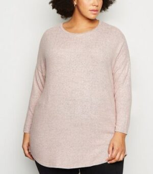 Apricot Curves Pink Curved Hem Jumper New Look