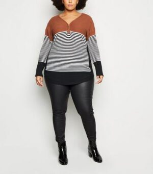Apricot Curves Brown Stripe Zip Neck Jumper New Look