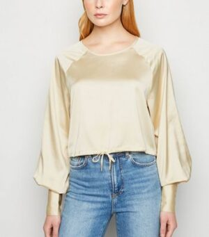 NA-KD Pale Yellow Satin Drawstring Hem Blouse New Look