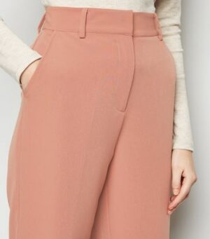 NA-KD Mid Pink Cropped Suit Trousers New Look