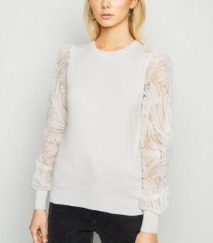 White Squiggle Mesh Sleeve Jumper New Look