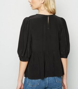 Black Puff Sleeve Peplum Top New Look