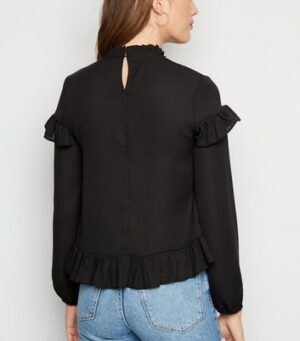 Black Chiffon Ruffle Long Sleeve Blouse New Look