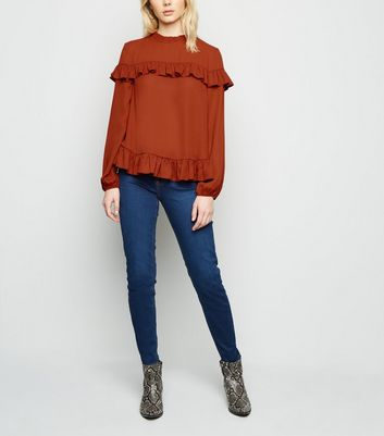 Rust Chiffon Ruffle Long Sleeve Blouse New Look