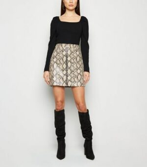 Cameo Rose Black Puff Sleeve Jumper New Look
