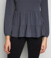 Dark Grey Tiered Peplum Hem Ribbed Top New Look