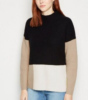 Apricot Black Colour Block Ribbed Jumper New Look