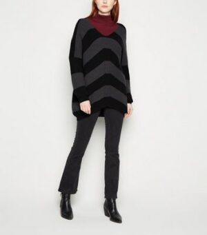 Apricot Black Chevron Oversized Jumper New Look