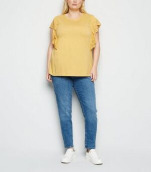 Curves Pale Yellow Broderie Frill Trim T-Shirt New Look