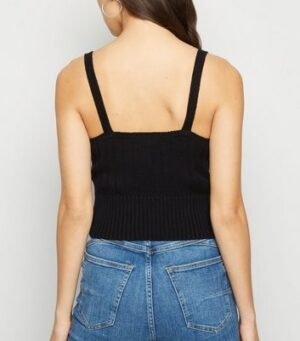 Black Ribbed Knit Bralette New Look