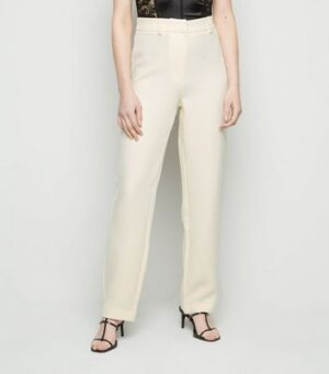 NA-KD Cream Suit Trousers New Look