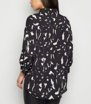AX Paris Black Brushstroke Oversized Shirt New Look