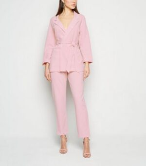 Pale Pink Scuba Tapered Suit Trousers New Look