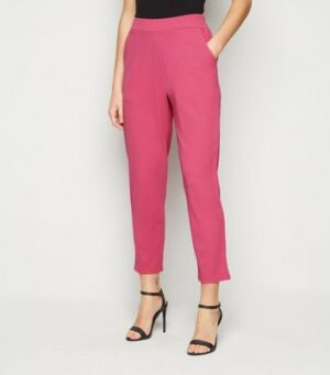 Bright Pink Scuba Tapered Suit Trousers New Look