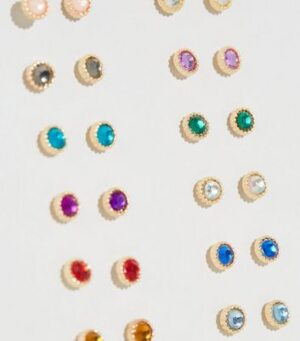 12 Pack Multicoloured Gem Stud Earrings New Look