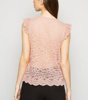 Pale Pink Mesh Lace Scallop Trim T-Shirt New Look