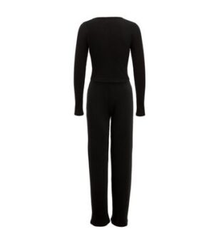 Black Ribbed Crop Top and Trouser Set New Look