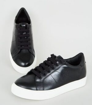 Black Leather Seam Detail Lace Up Trainers New Look