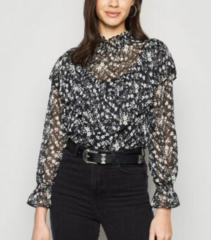 Black Chiffon Floral Shirred Neck Ruffle Blouse New Look