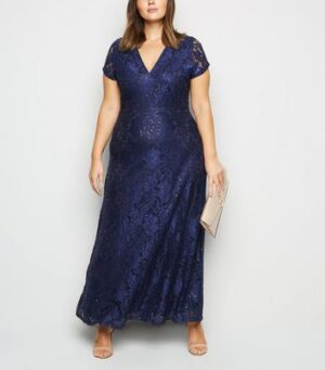 Mela Curves Navy Sequin Maxi Dress New Look