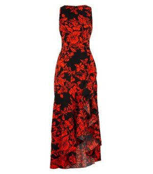 AX Paris Red Floral Ruffle Midaxi Dress New Look