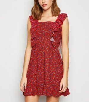 AX Paris Red Ditsy Floral Ruffle Mini Dress New Look