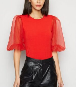 AX Paris Red Organza Sleeve Bodysuit New Look
