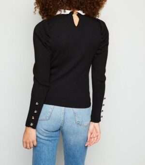 Black Ribbed Knit Puff Sleeve Collared Jumper New Look