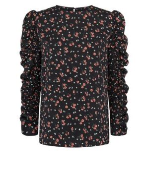 AX Paris Black Floral Ruched Sleeve Top New Look