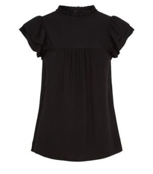 Black Tiered Frill Sleeve Top New Look