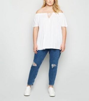 Curves White Bardot Tie Front Top New Look