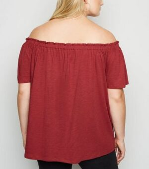 Curves Plum Bardot Tie Front Top New Look