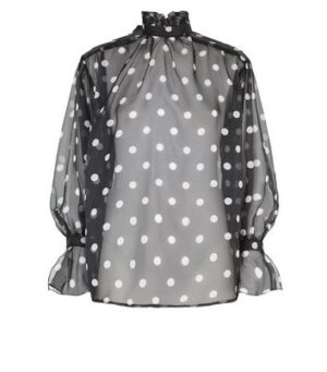 AX Paris Black Chiffon Polka Dot Blouse New Look