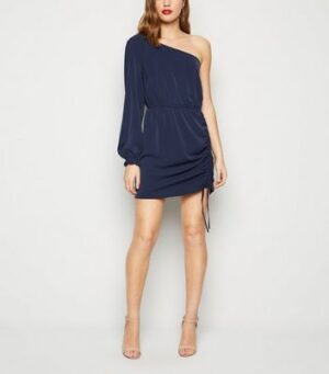 AX Paris Navy One Shoulder Ruched Dress New Look