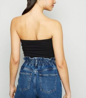 Noisy May Black Slogan Bandeau Crop Top New Look