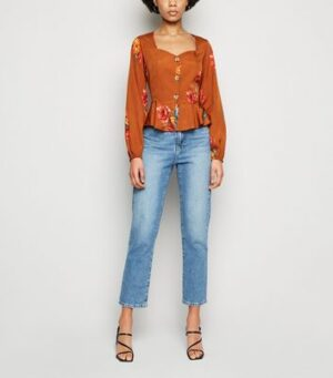 Influence Orange Floral Peplum Blouse New Look