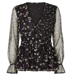 Influence Black Floral Mesh Wrap Blouse New Look