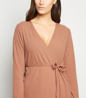 Carpe Diem Camel Wrap Top and Trousers Set New Look