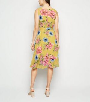 Mela Yellow Floral Chiffon Cowl Neck Dress New Look