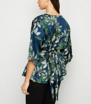 Mela Blue Floral Satin Wrap Blouse New Look
